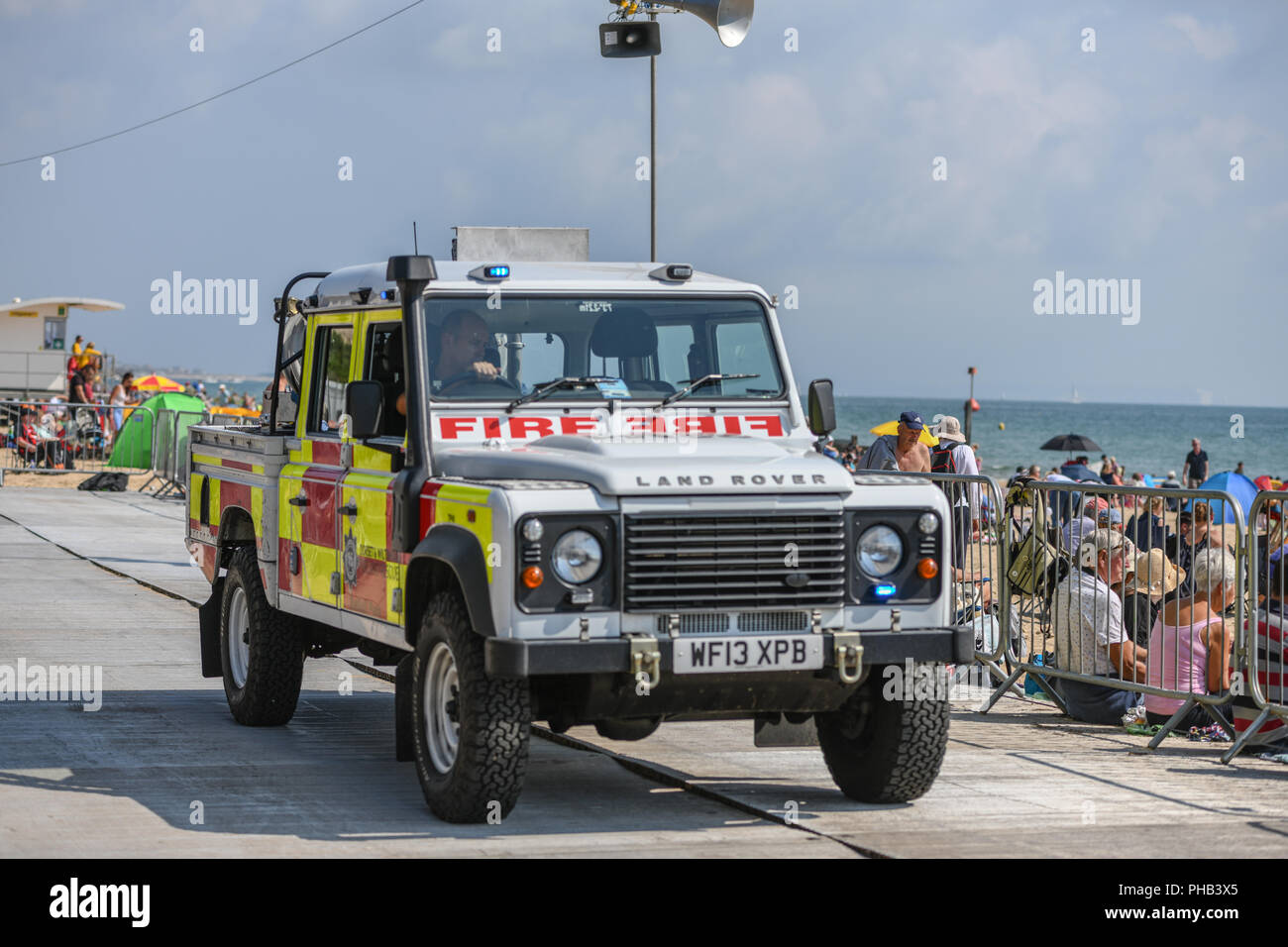 Bournemouth, UK. 31st August, 2018. Thousands of people enjoy the aerial displays at the Bournemouth Air Festival in Dorset. The free weekend festival goes on until the 2nd September 2018. Credit: Thomas Faull/Alamy Live News Stock Photo