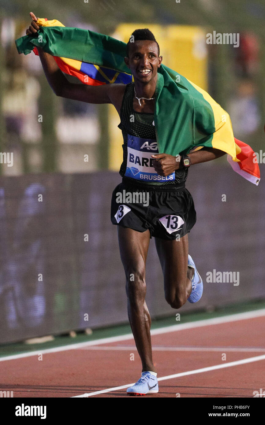 Brussels, Belgium. 31st Aug, 2018. Selemon Barega of Ethiopia celebrates after the men's 5,000m race at the IAAF Diamond League athletics meeting in Brussels, Belgium, Aug. 31, 2018. Selemon Barega claimed the title in a time of 12 minutes and 43.02 seconds. Credit: Zheng Huansong/Xinhua/Alamy Live News - Stock Image
