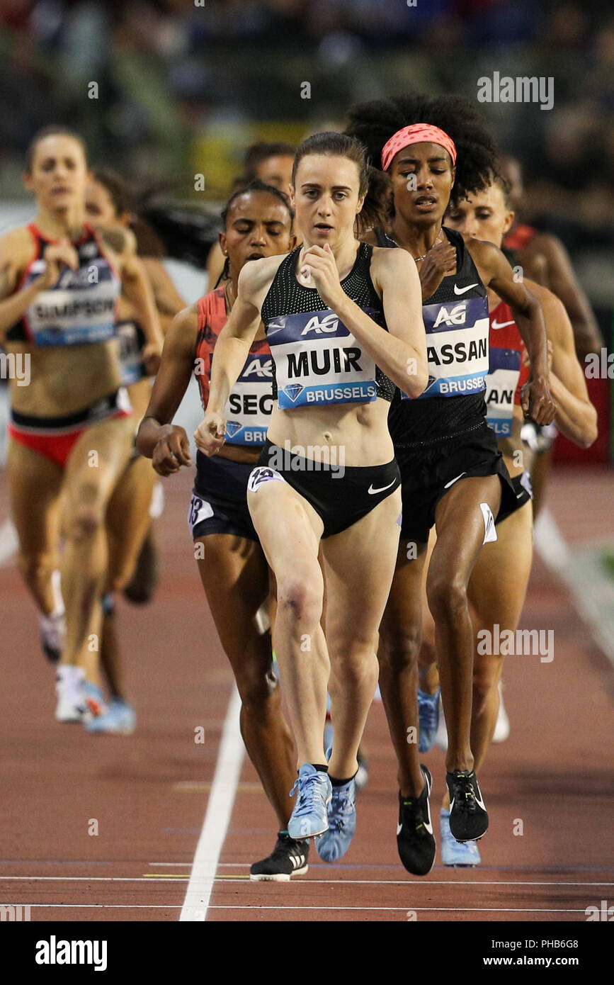 Brussels, Belgium. 31st Aug, 2018. Laura Muir of Britain competes the women's 1,500m race at the IAAF Diamond League athletics meeting in Brussels, Belgium, Aug. 31, 2018. Laura Muir claimed the title in a time of 3 minutes and 58.49 seconds. Credit: Zheng Huansong/Xinhua/Alamy Live News - Stock Image