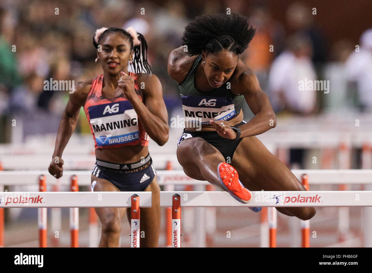 Brussels, Belgium. 31st Aug, 2018. Brianna McNeal (Front) of the United States competes during the women's 100m hurdles at the IAAF Diamond League athletics meeting in Brussels, Belgium, Aug. 31, 2018. Brianna McNeal claimed the title in a time of 12.61 seconds. Credit: Zheng Huansong/Xinhua/Alamy Live News - Stock Image