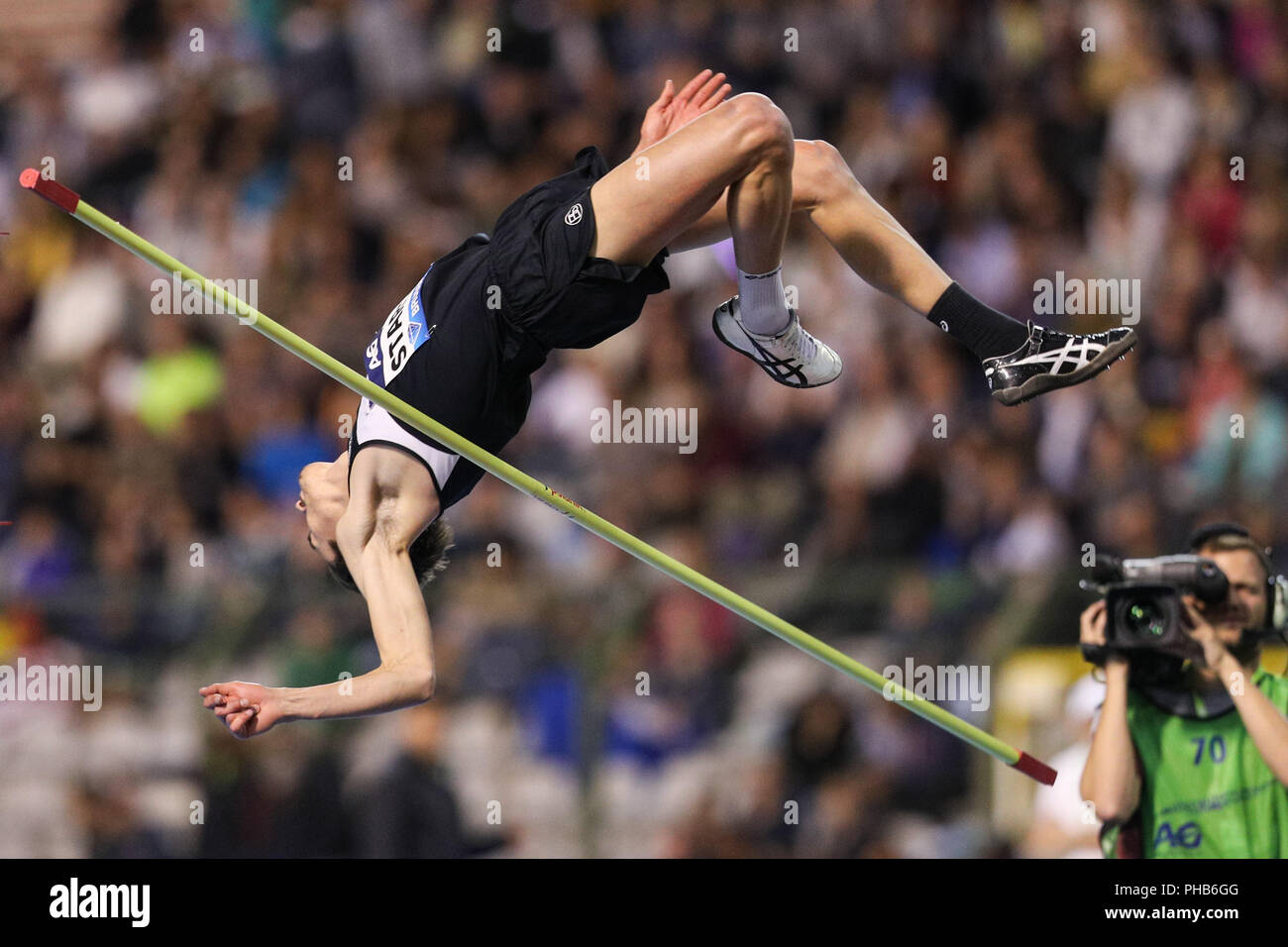 Brussels, Belgium. 31st Aug, 2018. Brandon Starc of Australia competes during the men's high jump event at the IAAF Diamond League athletics meeting in Brussels, Belgium, Aug. 31, 2018. Brandon Starc claimed the title with 2.33 meters. Credit: Zheng Huansong/Xinhua/Alamy Live News - Stock Image