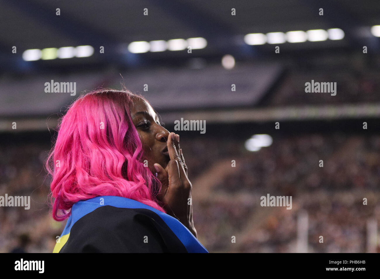 Brussels, Belgium. 31st Aug, 2018. Shaunae Miller-Uibo of Bahamas celebrates after the women's 200m race at the IAAF Diamond League athletics meeting in Brussels, Belgium, Aug. 31, 2018. Shaunae Miller-Uibo claimed the title in a time of 22.12 seconds. Credit: Zheng Huansong/Xinhua/Alamy Live News - Stock Image