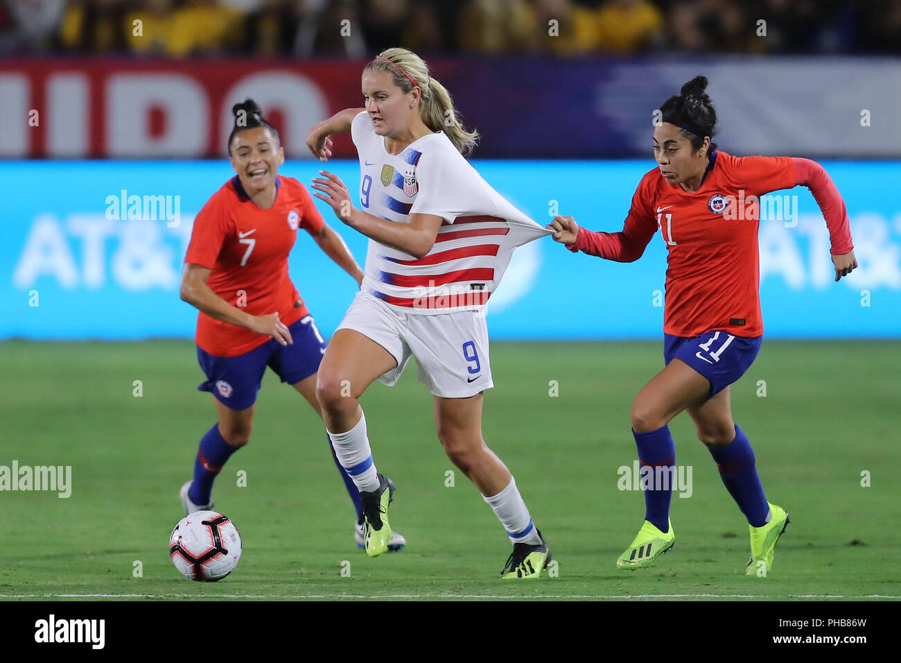 premium selection 0e511 d3195 August 31, 2018: USA forward Lindsey Horan can't run with ...