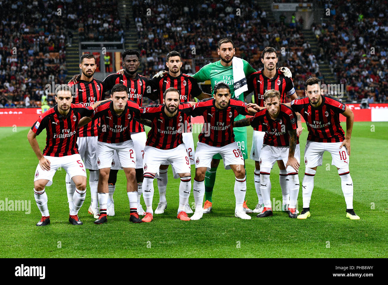 Milan, Italy. 31st August 2018. Milan squad during the ...