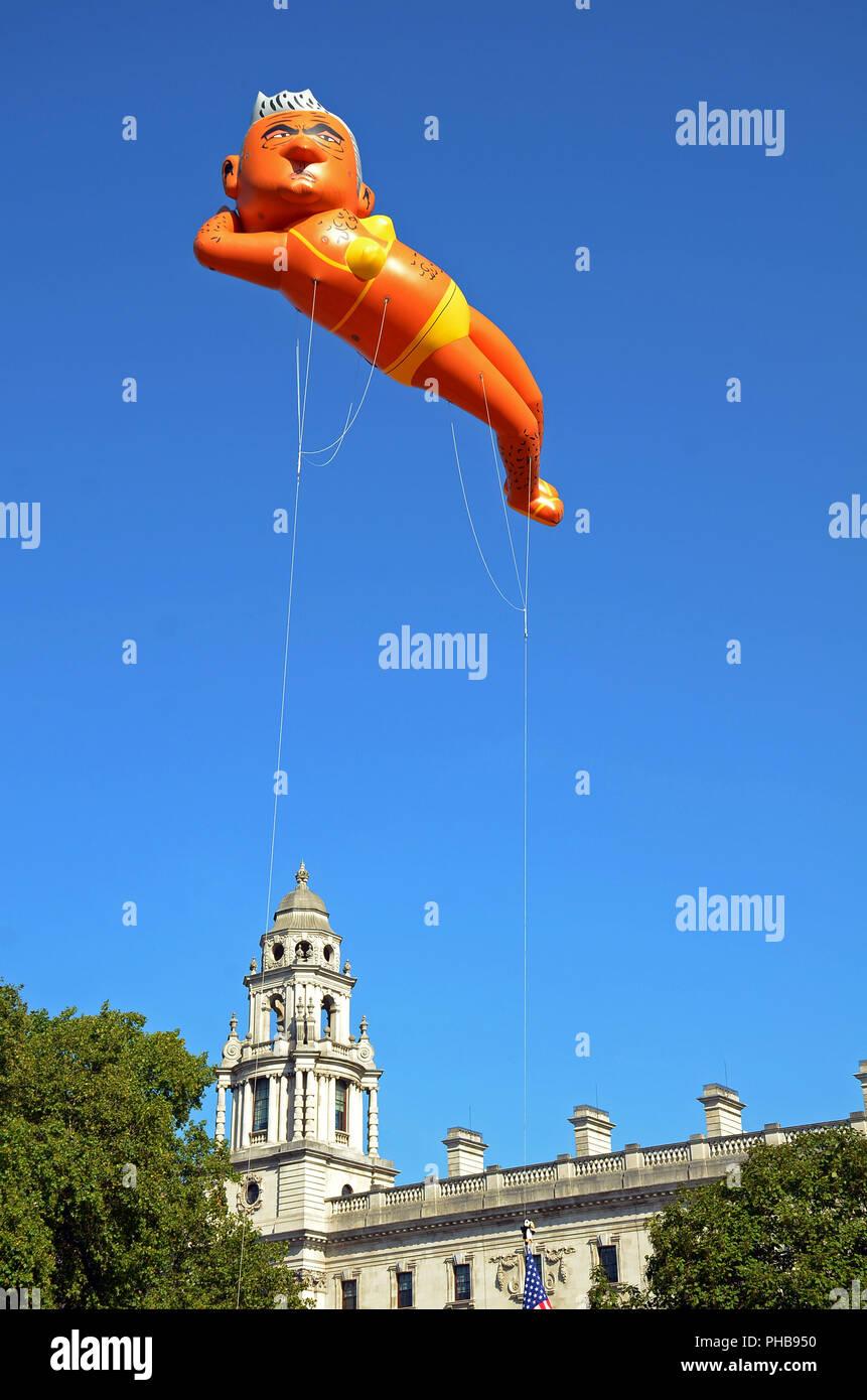 London, UK, 1 September 2018  Sadiq Khan blimp in Pariament square - Stock Image