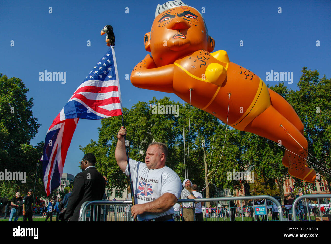London, UK. 1st September 2018. A supporter of Donald Trump at the Sadiq Khan Balloon Protest Credit: Alex Cavendish/Alamy Live News - Stock Image