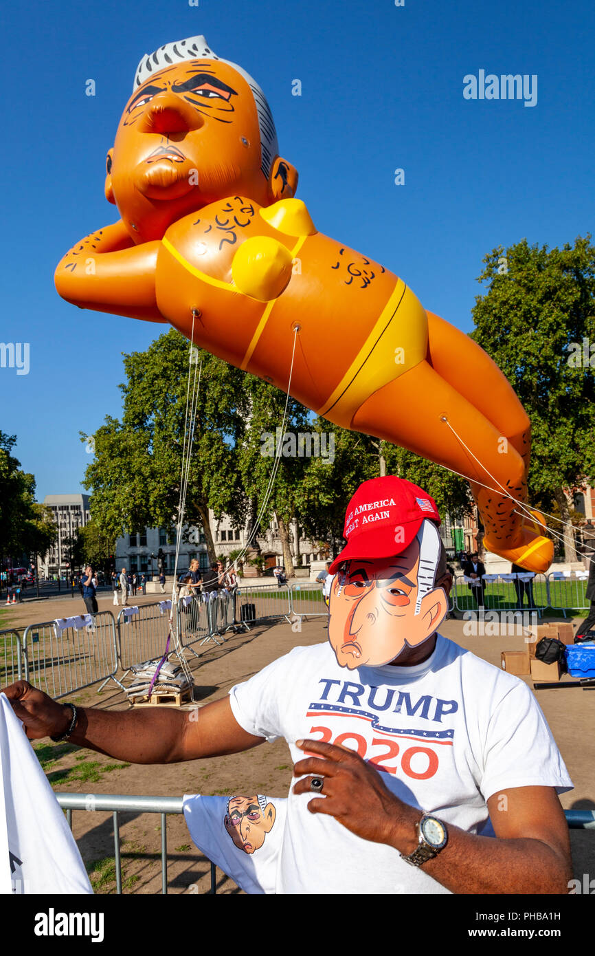 London, UK. 1st September 2018. Protesters fly a 29ft long bikini-clad blimp of London mayor Sadiq Khan over Parliament Square, Westminster. Credit: Grant Rooney/Alamy Live News - Stock Image