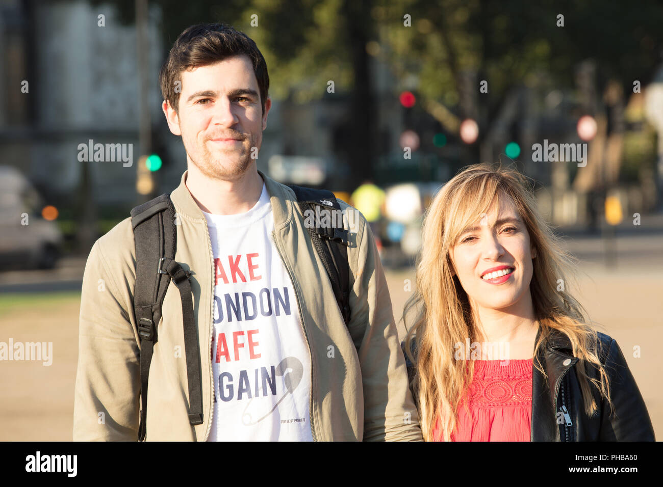 Organiser Yanny Bruere and Michella, just before launching the Sadiq Khan Bikini blimp in Parliament Square to mock the Mayor of London ban the bikini policy and to highlight the high crime rate in the capital Credit: joe Kuis/Alamy Live News - Stock Image