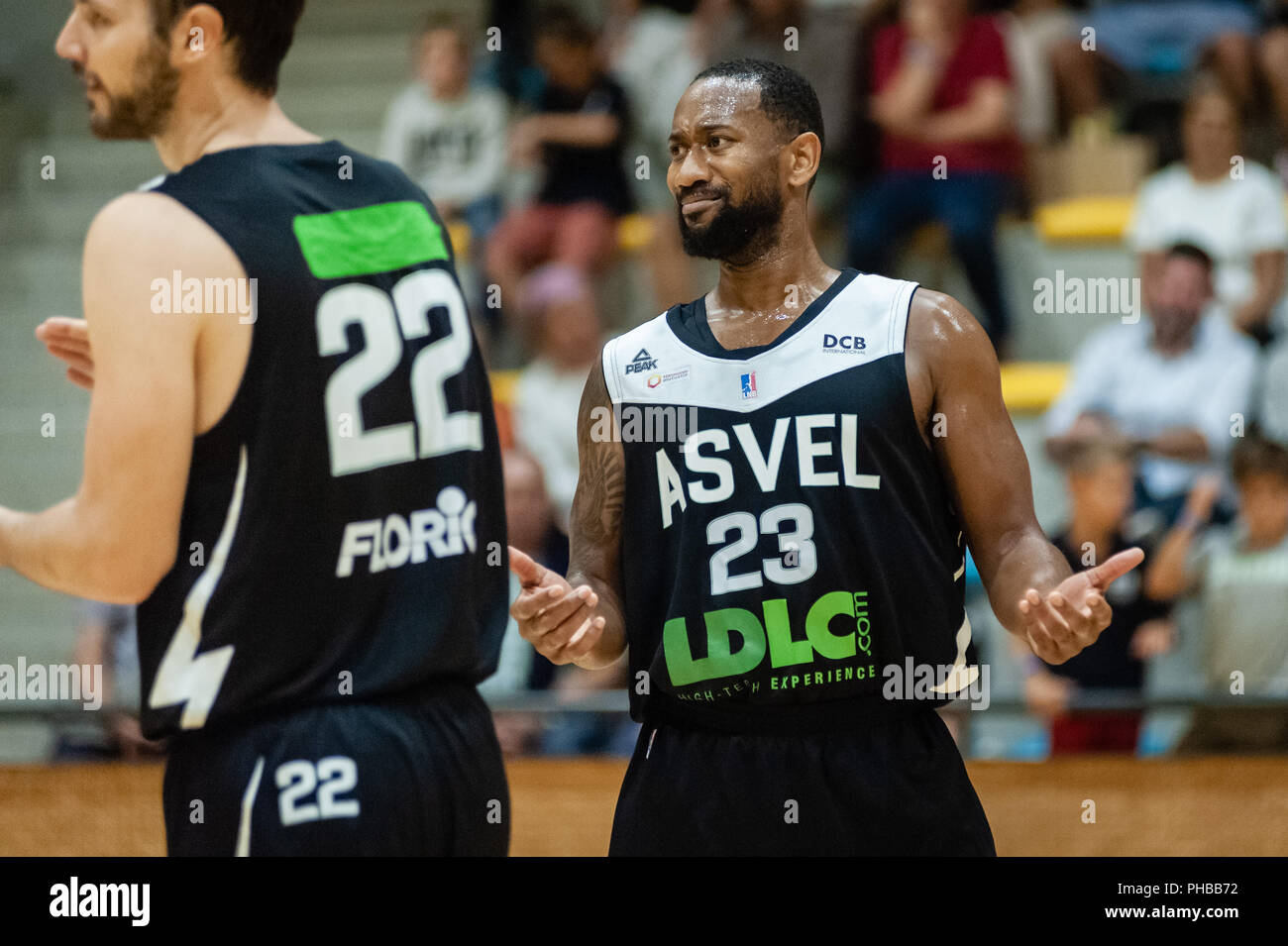 Belleville-sur-Saône, France. 31st August 2018.  Ain Star Games is a preparation tournament - The match was against ASVEL and KK Mornar Bar (88-68). David Lighty. Credit: FRANCK CHAPOLARD/Alamy Live News - Stock Image