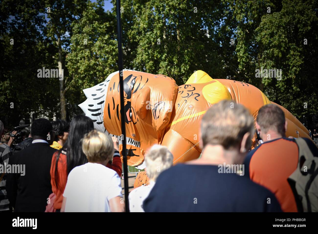 Westminster London United Kingdom 1st of September 2018 - A balloon of Sadiq Khan is flown above Westminster in protest against escalating violent crime in the capital. Credit: Stuart Mitchell/Alamy Live News - Stock Image