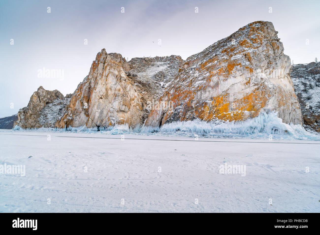View of rocky island at Lake Baikal - Stock Image