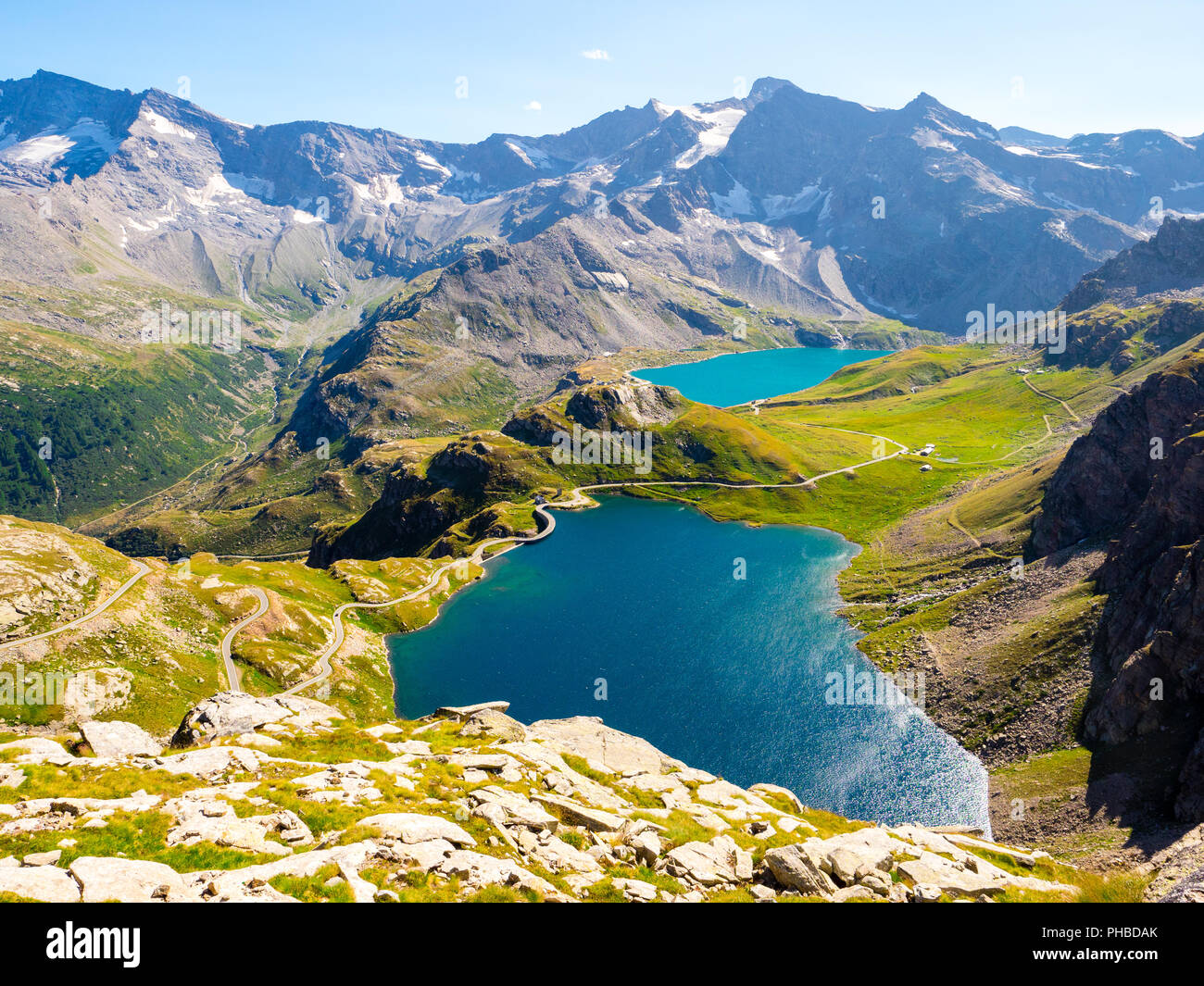 Stunning view of Gran Paradiso park lakes, from Col Nivolet in Piedmont, Italy - Stock Image