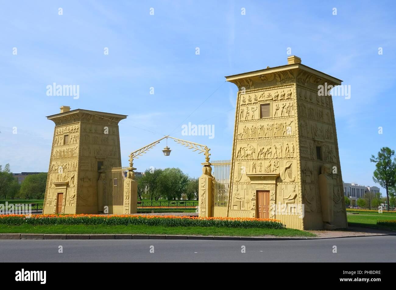 Egyptian gates at Tsarskoye Selo - Stock Image