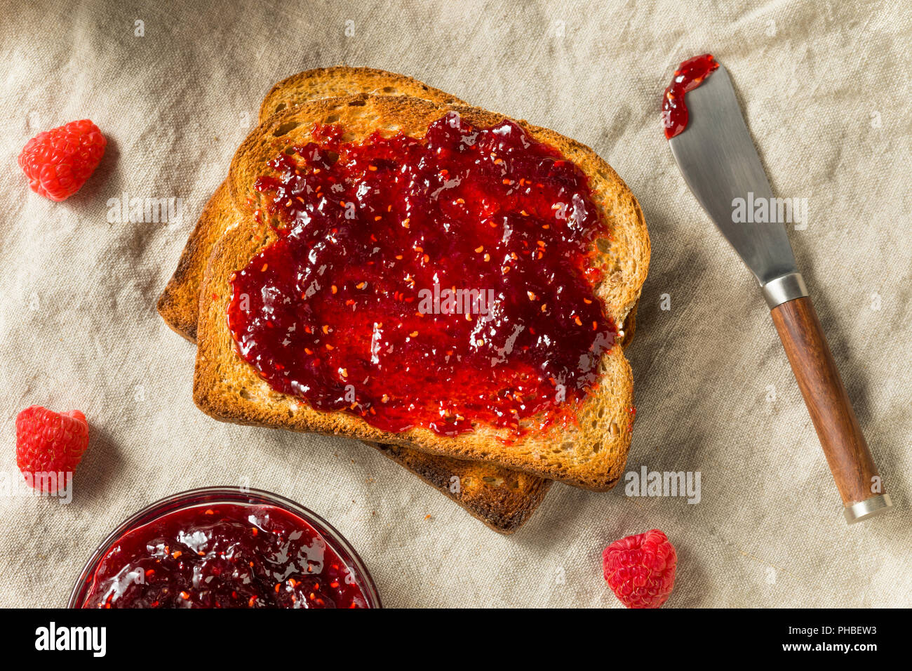 Healthy Homemade Raspberry Jam Preserve Ready to Eat - Stock Image