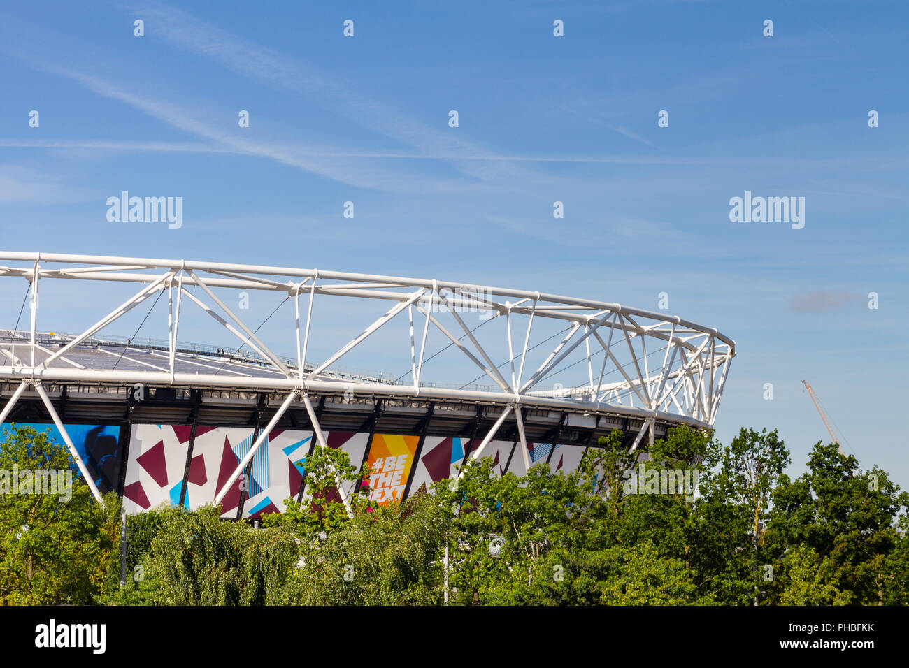 The Olympic Stadium in Queen Elizabeth Olympic Park, London, England.  The stadium is now home to West Ham United Football Cub. - Stock Image
