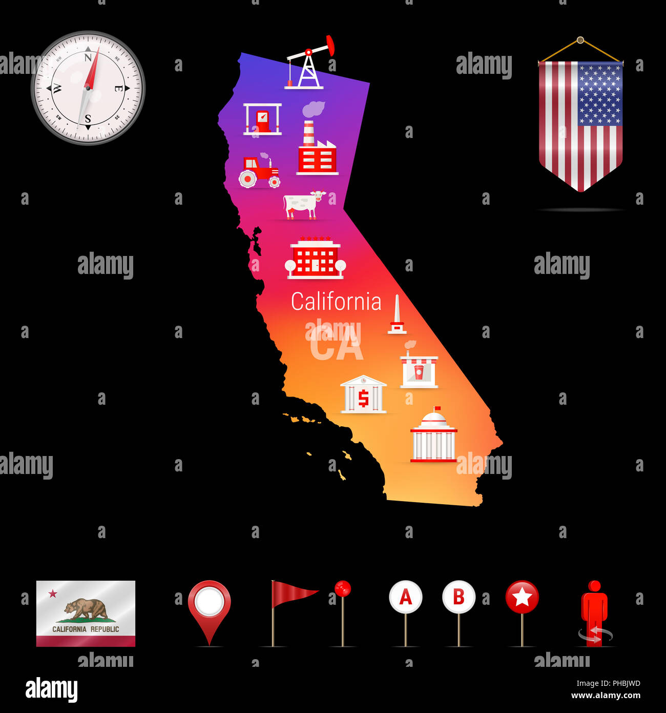 California Map Icon.California Map Night View Compass Icon Map Navigation Elements