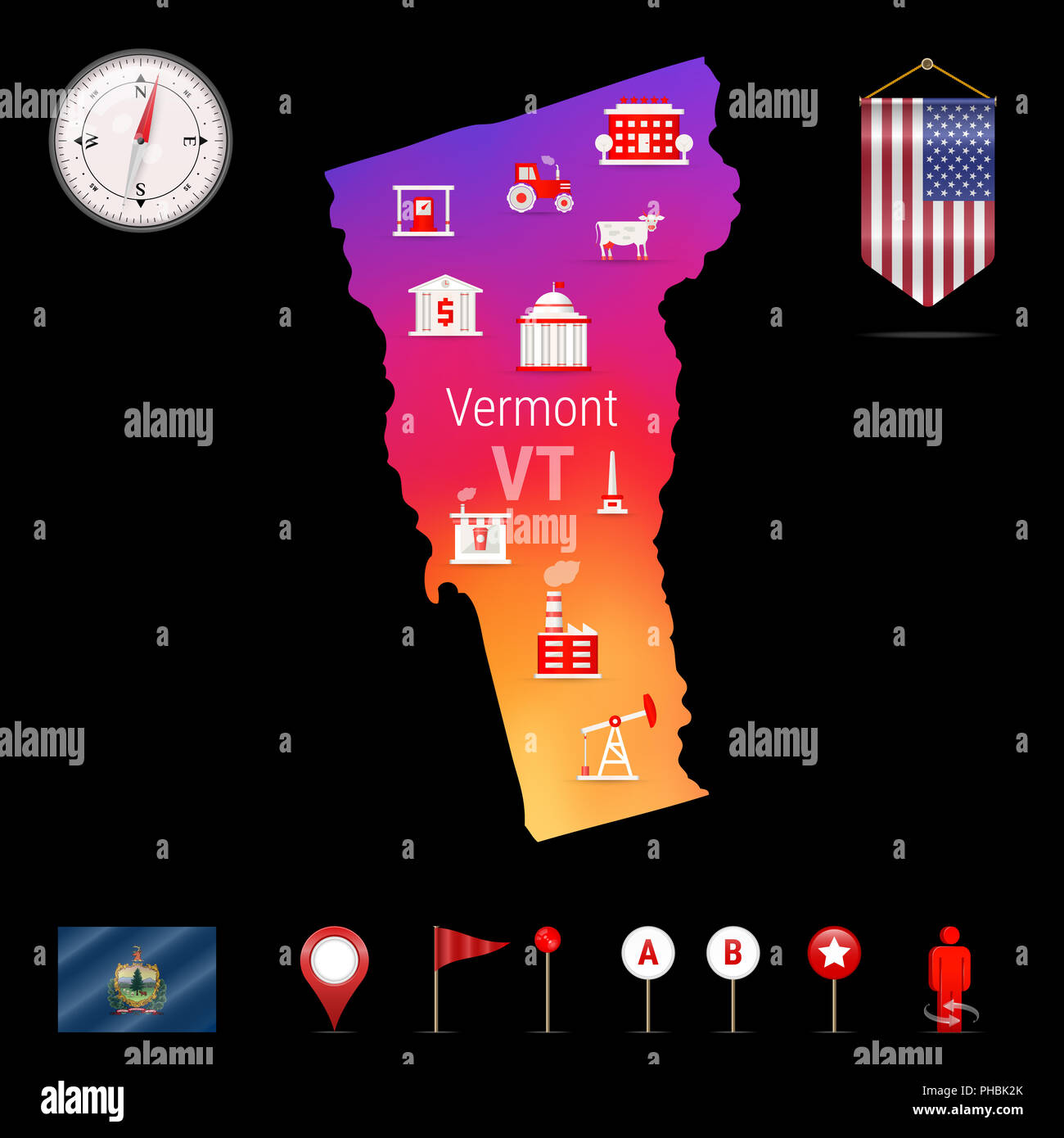 Vermont Map Night View Compass Icon Map Navigation Elements - Us-map-night