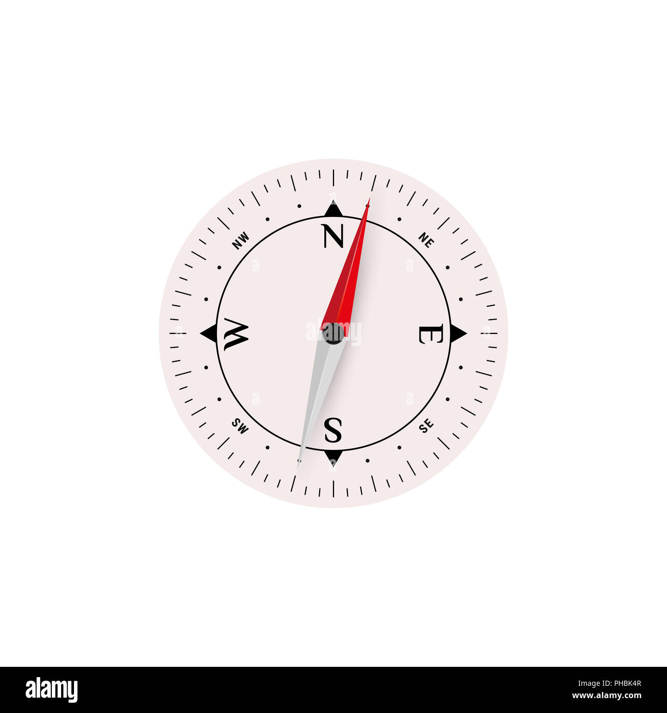 3D Compass Icon Set without Glass, Map Navigation Object Isolated on White. Illustration. - Stock Image