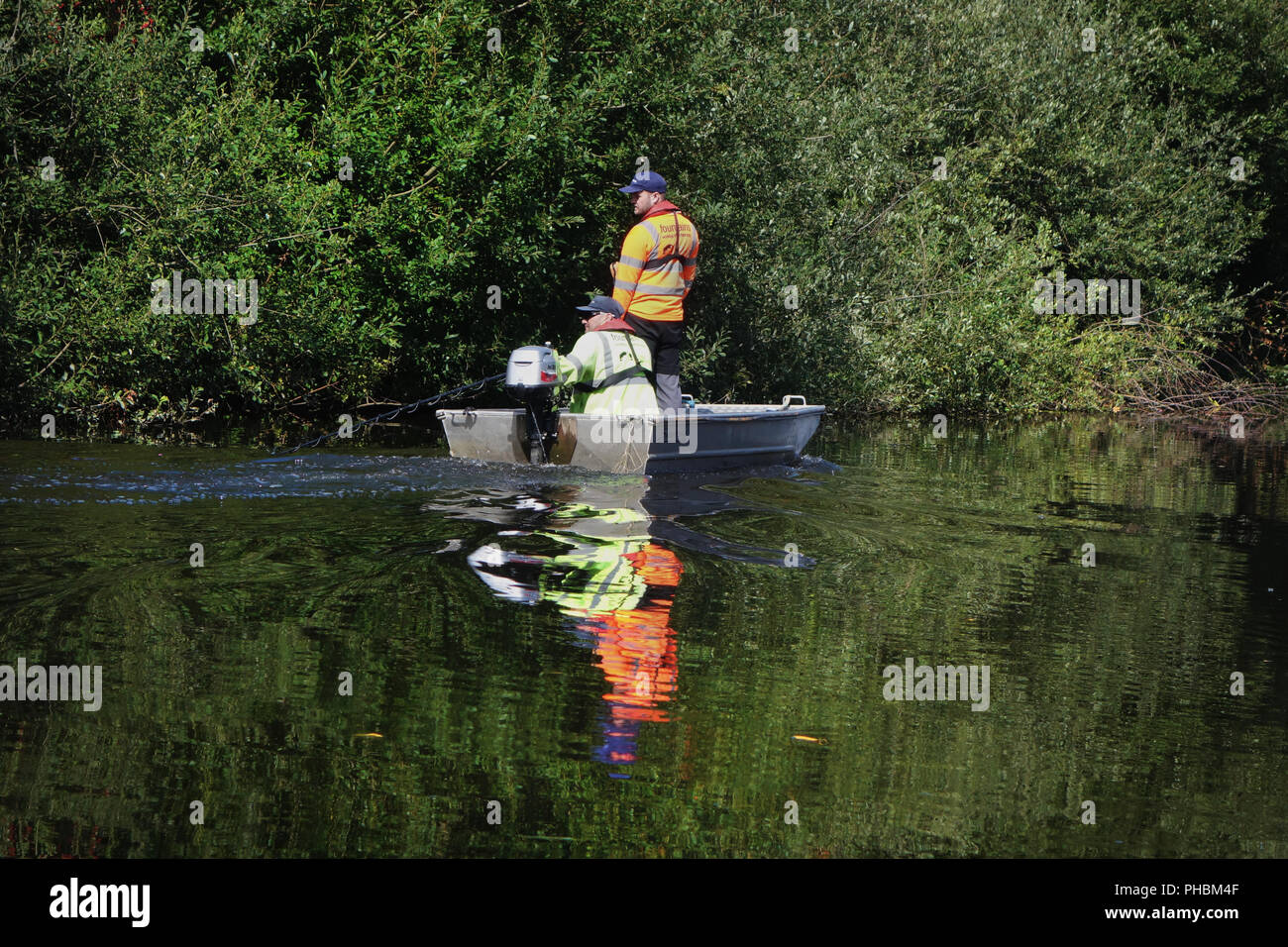 2 staff from The Canal and River Trust in the official boat spraying chemicals on weeds for a riverbank clean-up on the edge of a river. - Stock Image