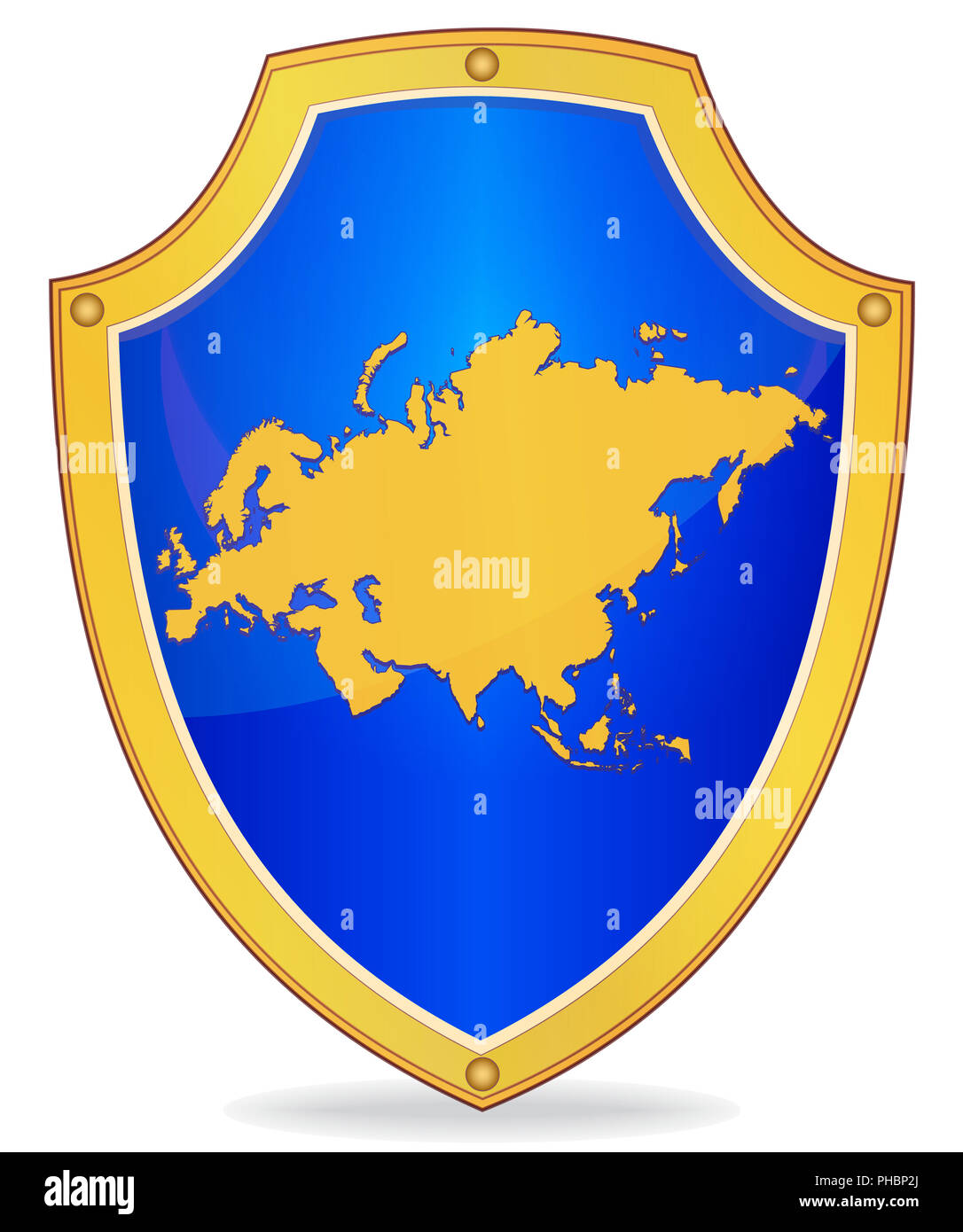 Shield with silhouette of Eurasia - Stock Image