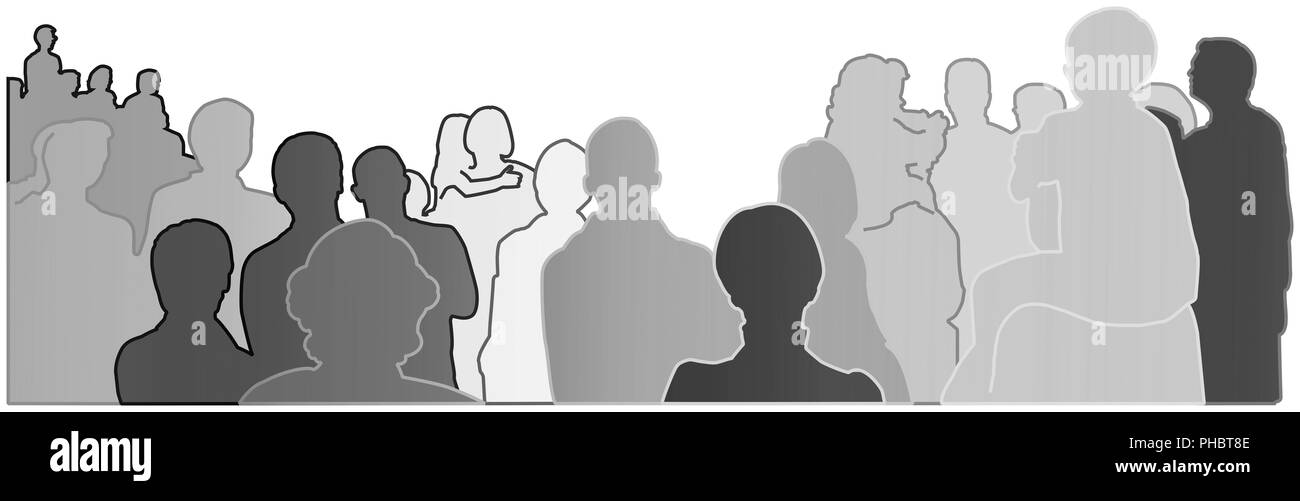 silhouettes of an audience, crowd of people - Stock Image