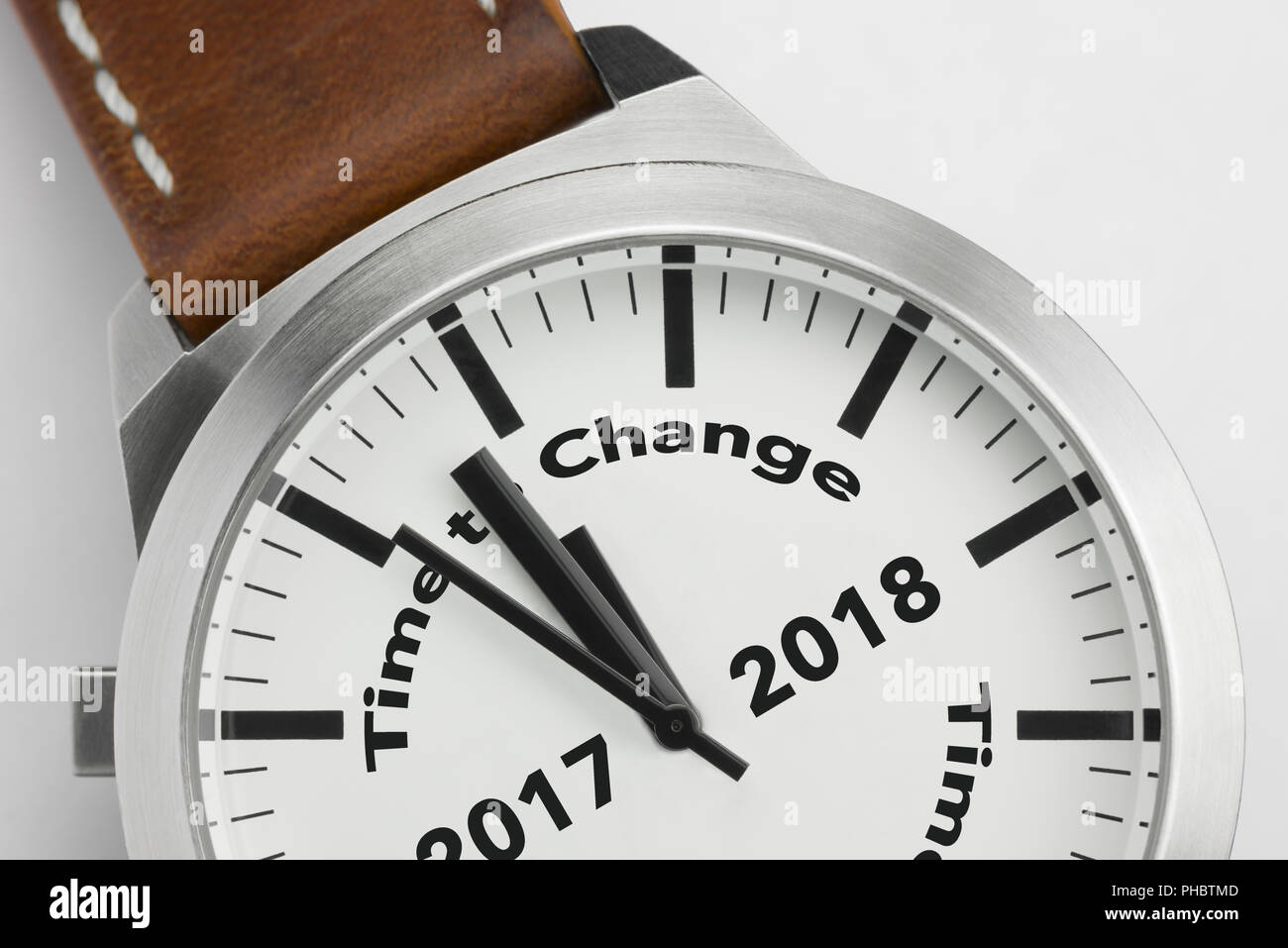 Watch with text Time to Change 2017 2018 - Stock Image