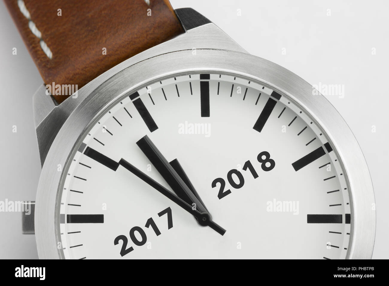 Watch with text 2017 2018 - Stock Image