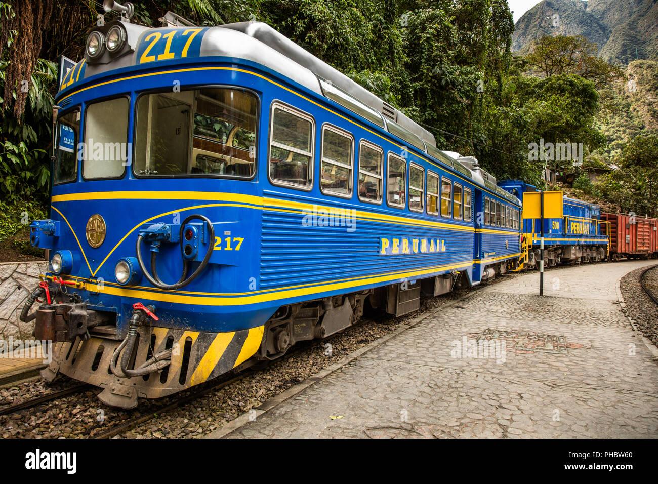 Perurail's Skydome tourist train car in Agua Calientes, transporting passengers from Cusco to Machu Picchu Pueblo (Agua Calientes), and beyond. Peru. - Stock Image