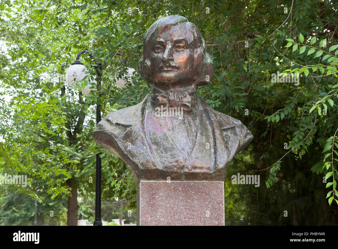 Evpatoria, Crimea, Russia - June 30, 2018: Bust to Nikolai Vasilyevich Gogol in the city of Evpatoria, Crimea - Stock Image