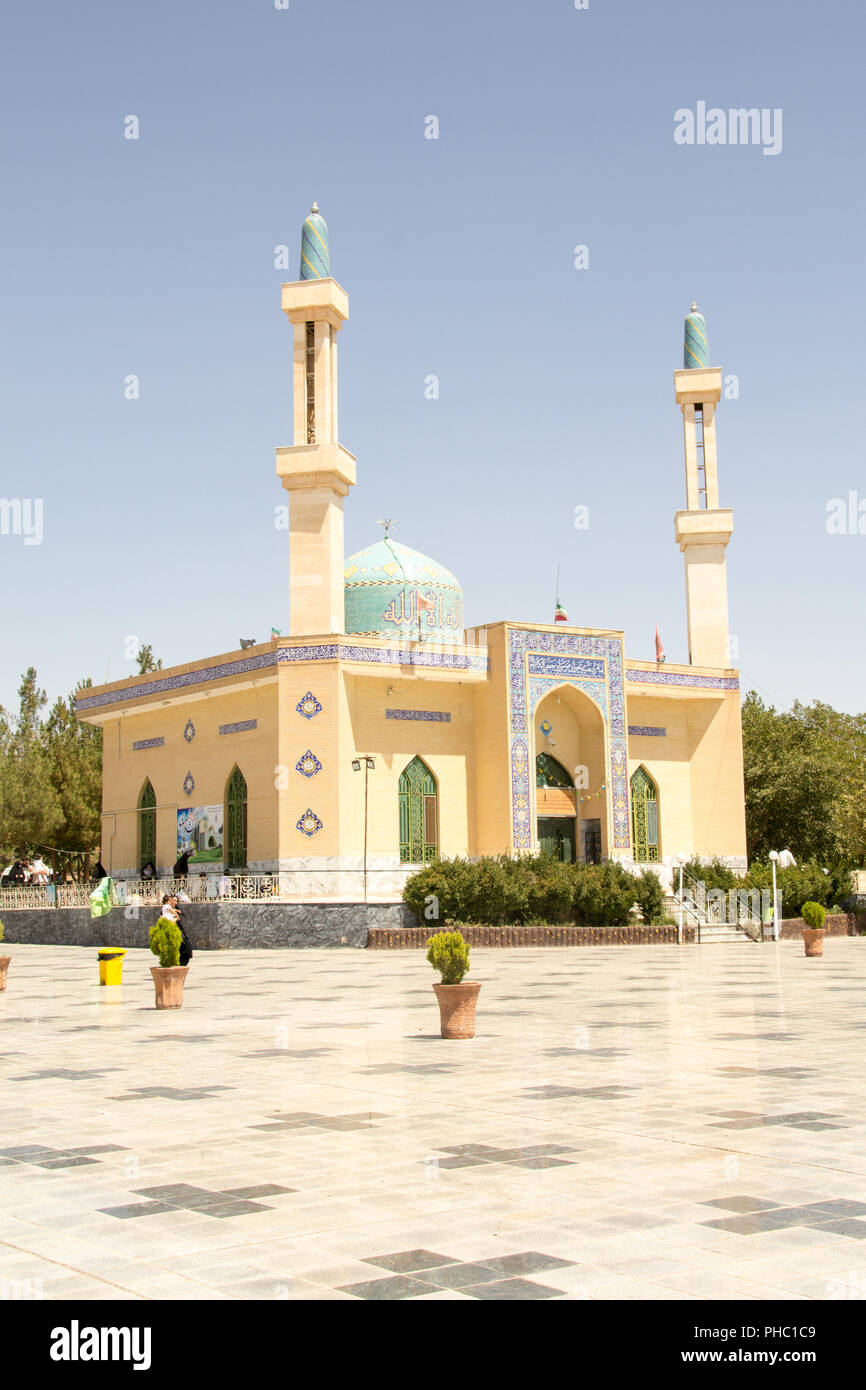 Picture of Shrine of Yahya ibn Musa Al Kazim in the Iranian city of neishabour, It is based on a mosque with one dome and two minarets. - Stock Image