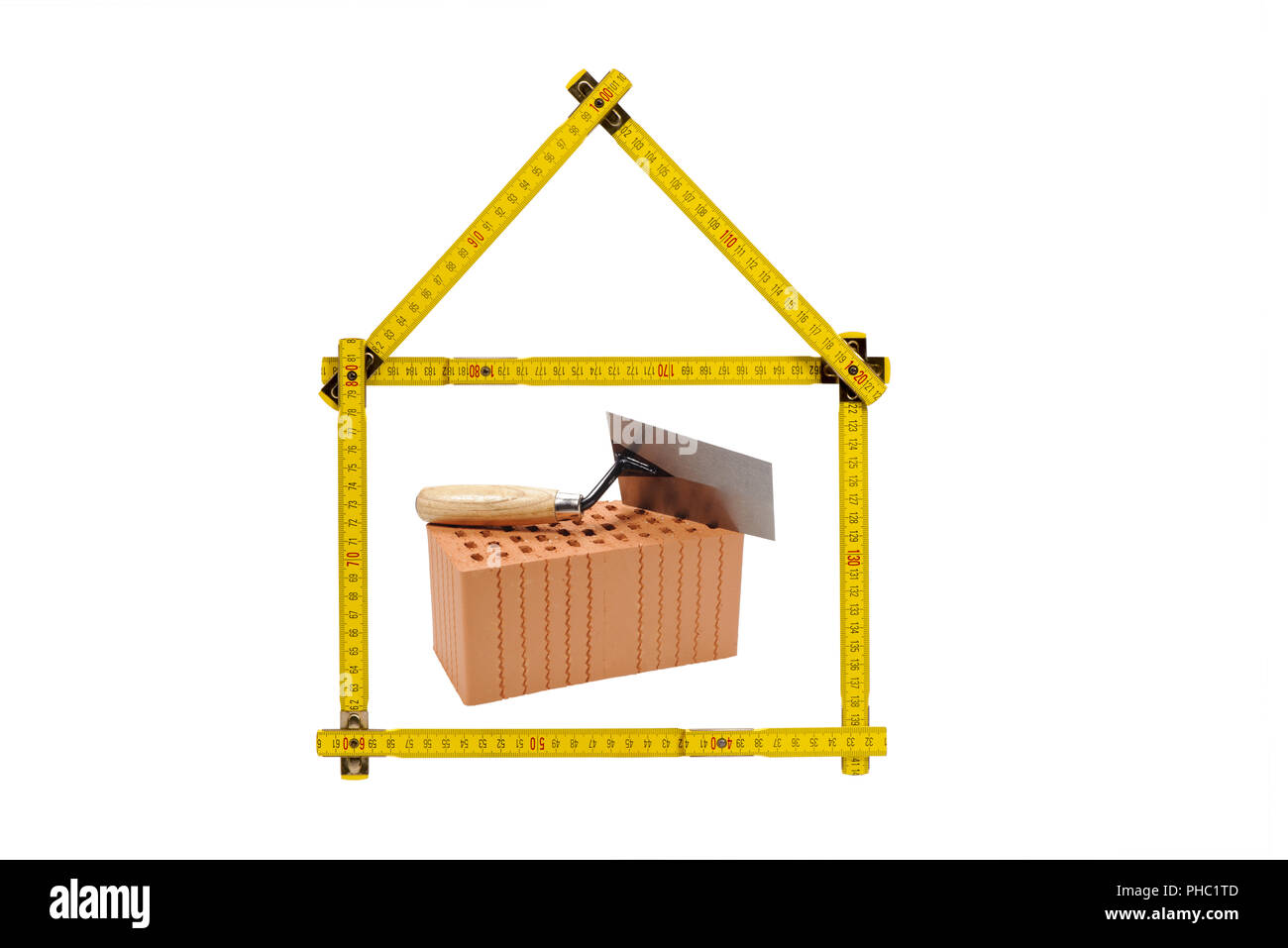 logo for construction company with brick and meter ruler - Stock Image