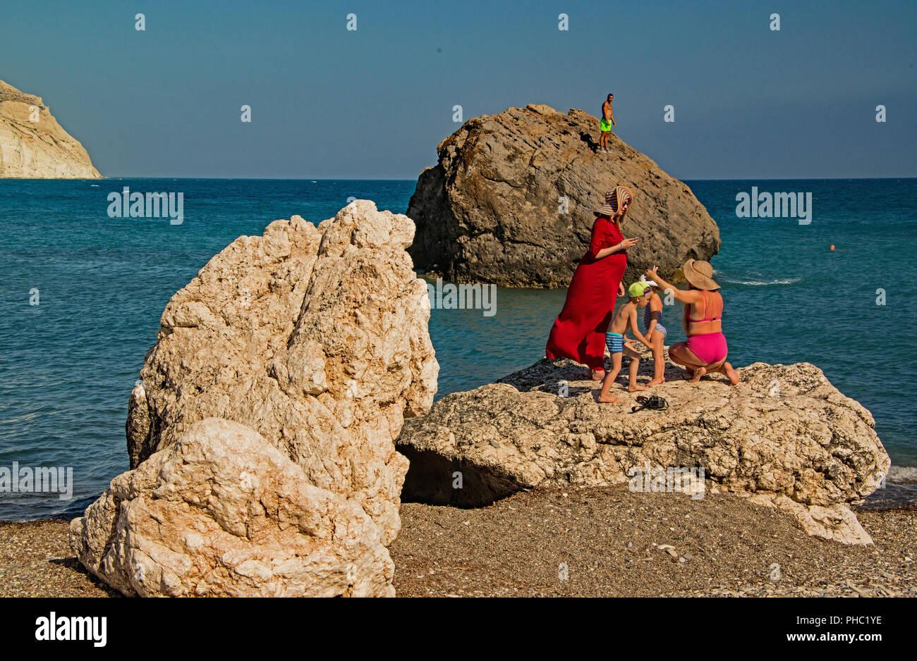 Beach at Petra tou Romiou, Cyprus. - Stock Image