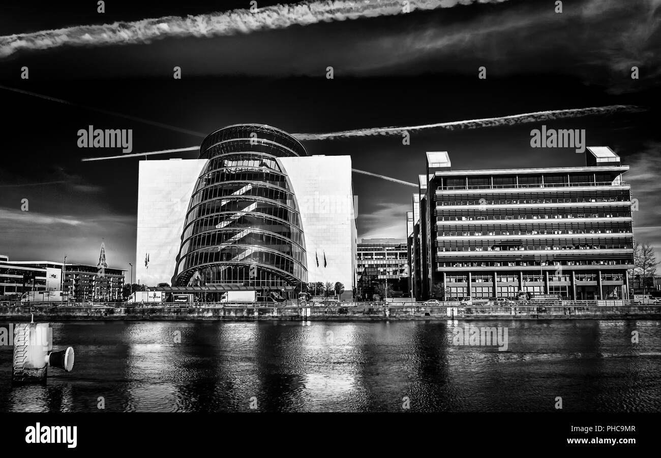 Dublin, Ireland, March 2018,  The Convention Center by the river Liffey - Stock Image