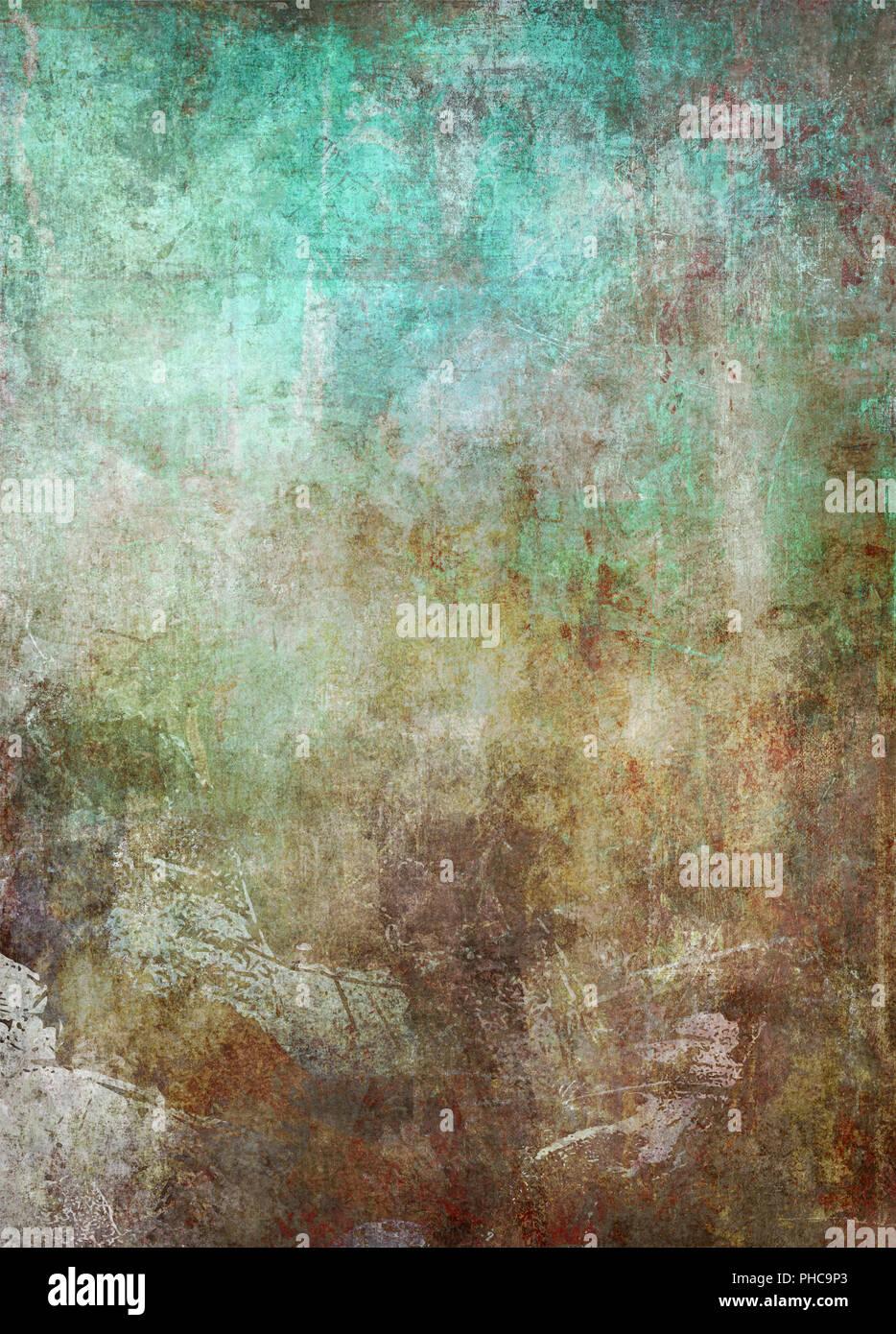 abstract mixed media artwork patina - Stock Image