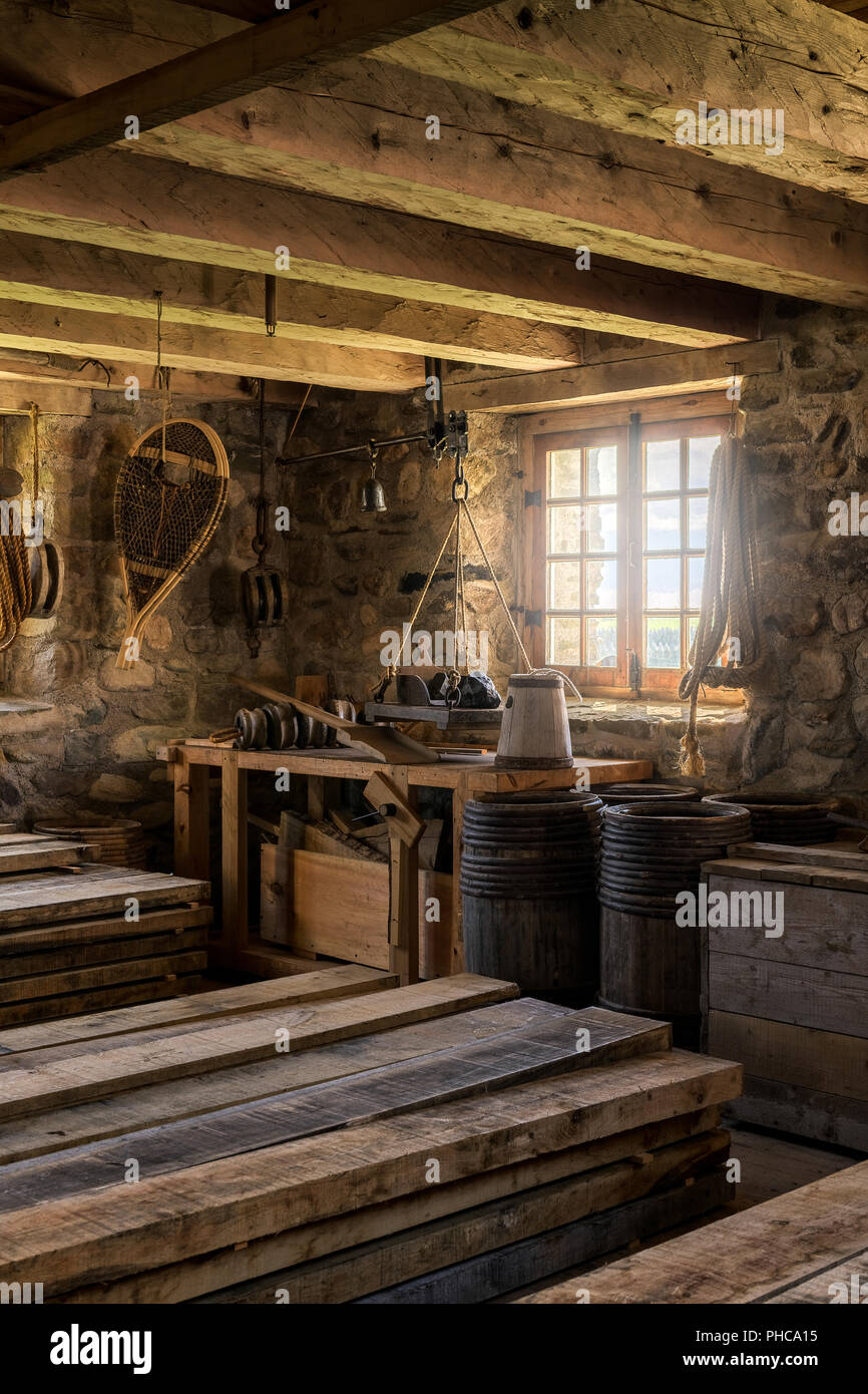Interior of the De la Valliere Storehouse at the Fortress of Louisbourg National Historic Site of Canada in Louisbourg, Nova Scotia on July 2 - Stock Image