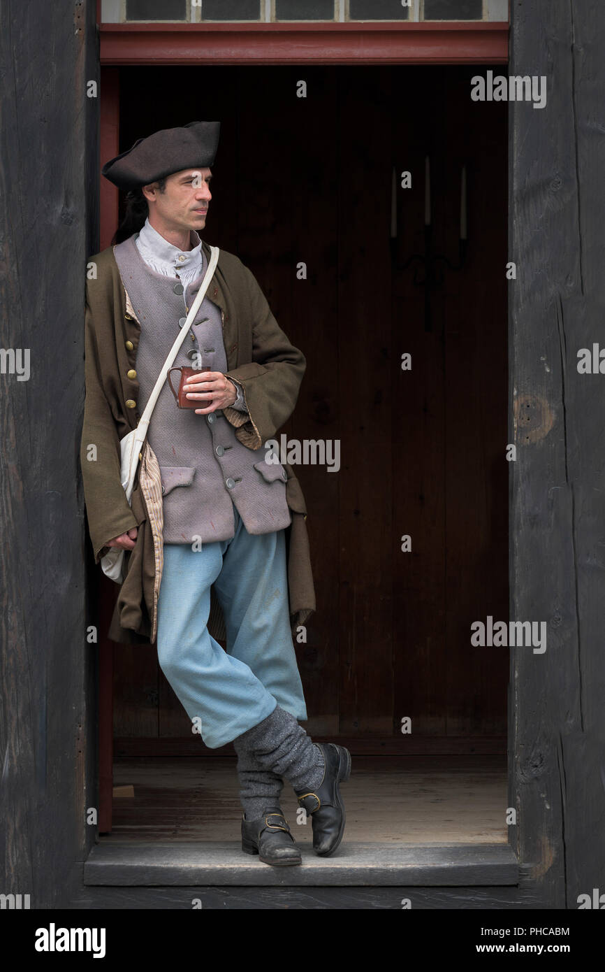 French Soldier Leaning Inside Doorway At The Fortress Of Louisbourg