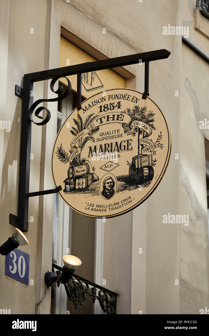 Mariage Freres Signage outside of the tea shop on Rue du Bourg Tibourg in Le Marais in Paris - Stock Image
