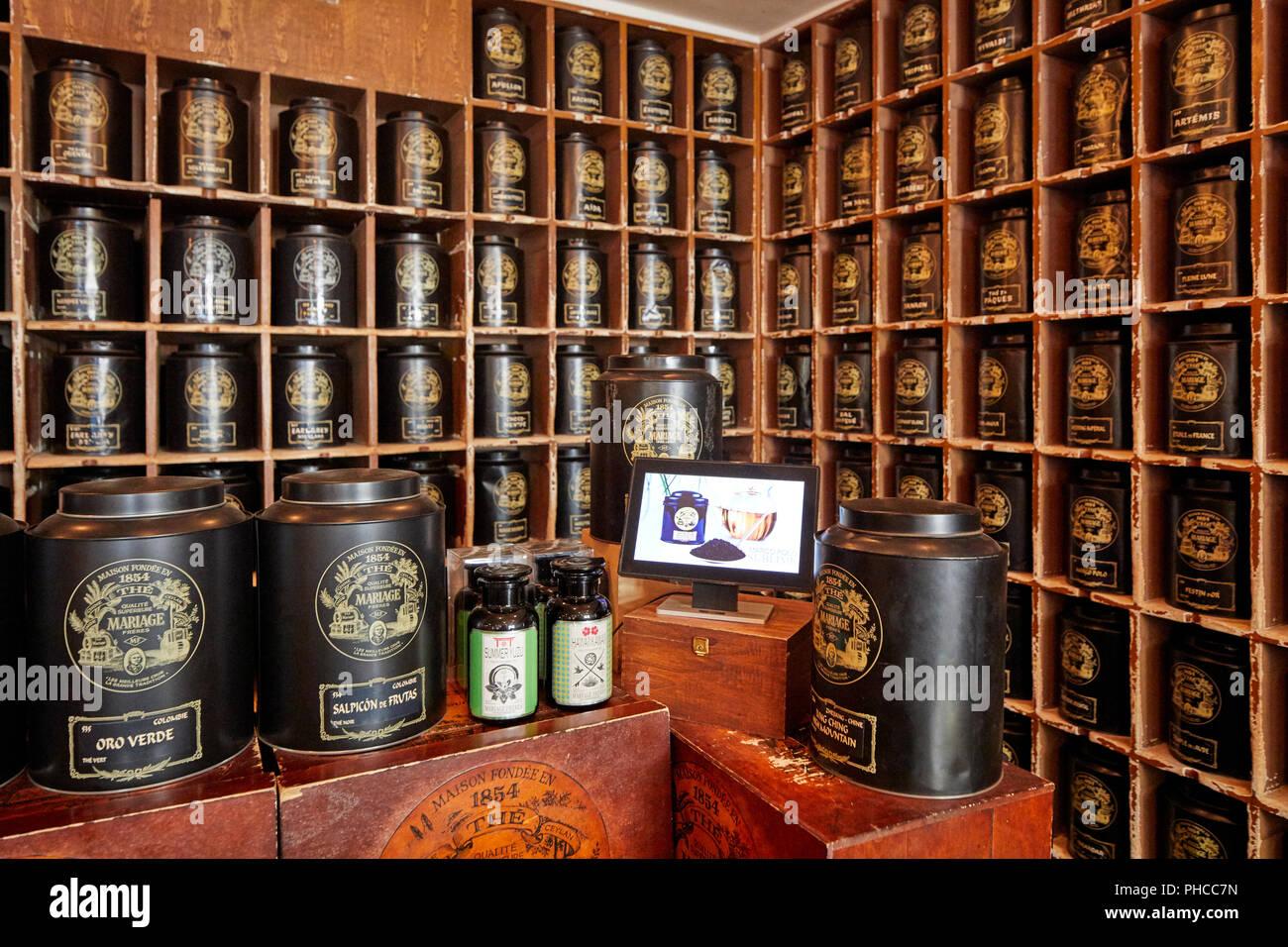 Mariage Freres tea shop on Rue du Bourg Tibourg in Le Marais in Paris - Stock Image