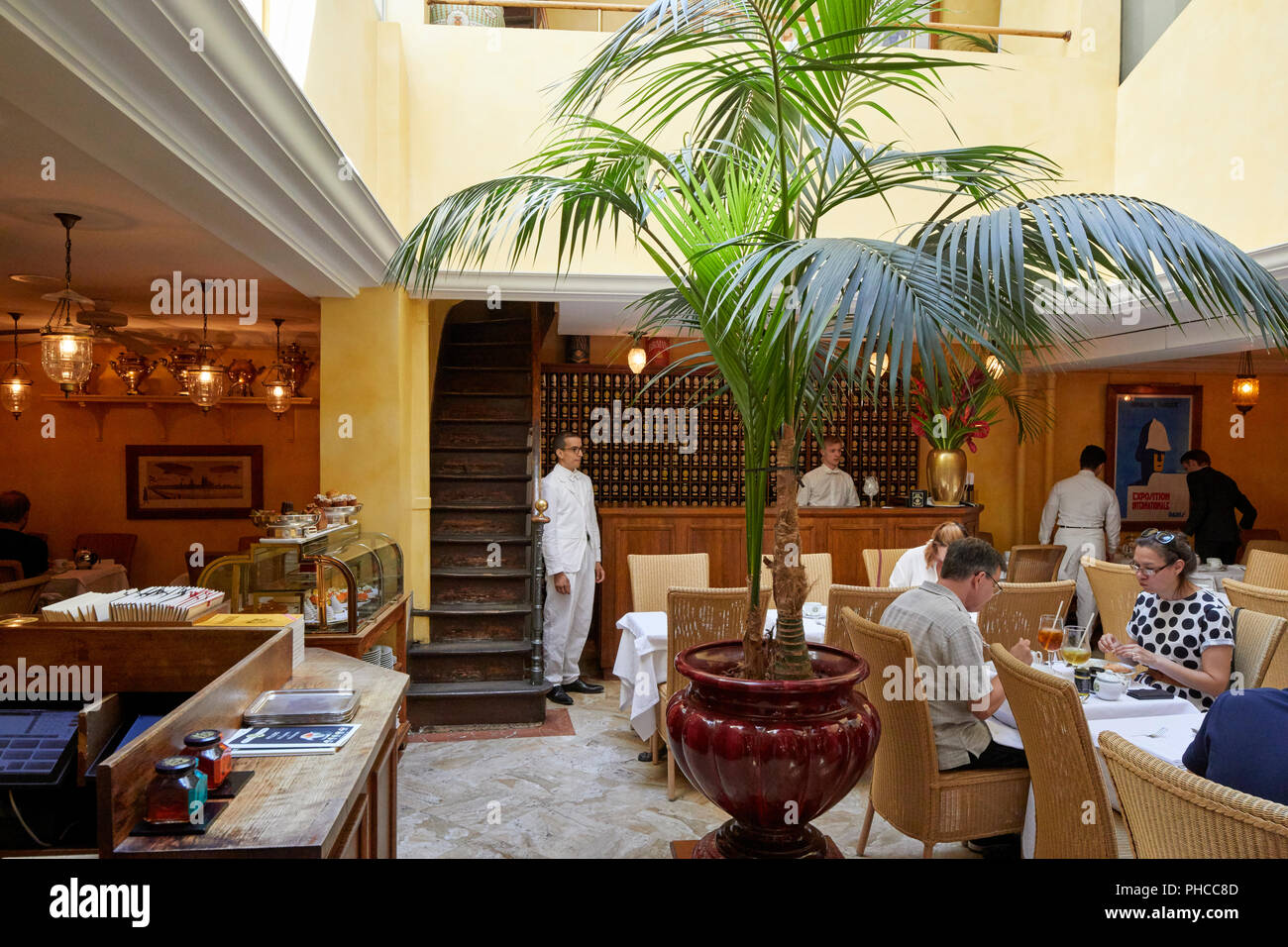 Inside of Mariage Freres restaurant on Rue du Bourg Tibourg in Le Marais in Paris - Stock Image