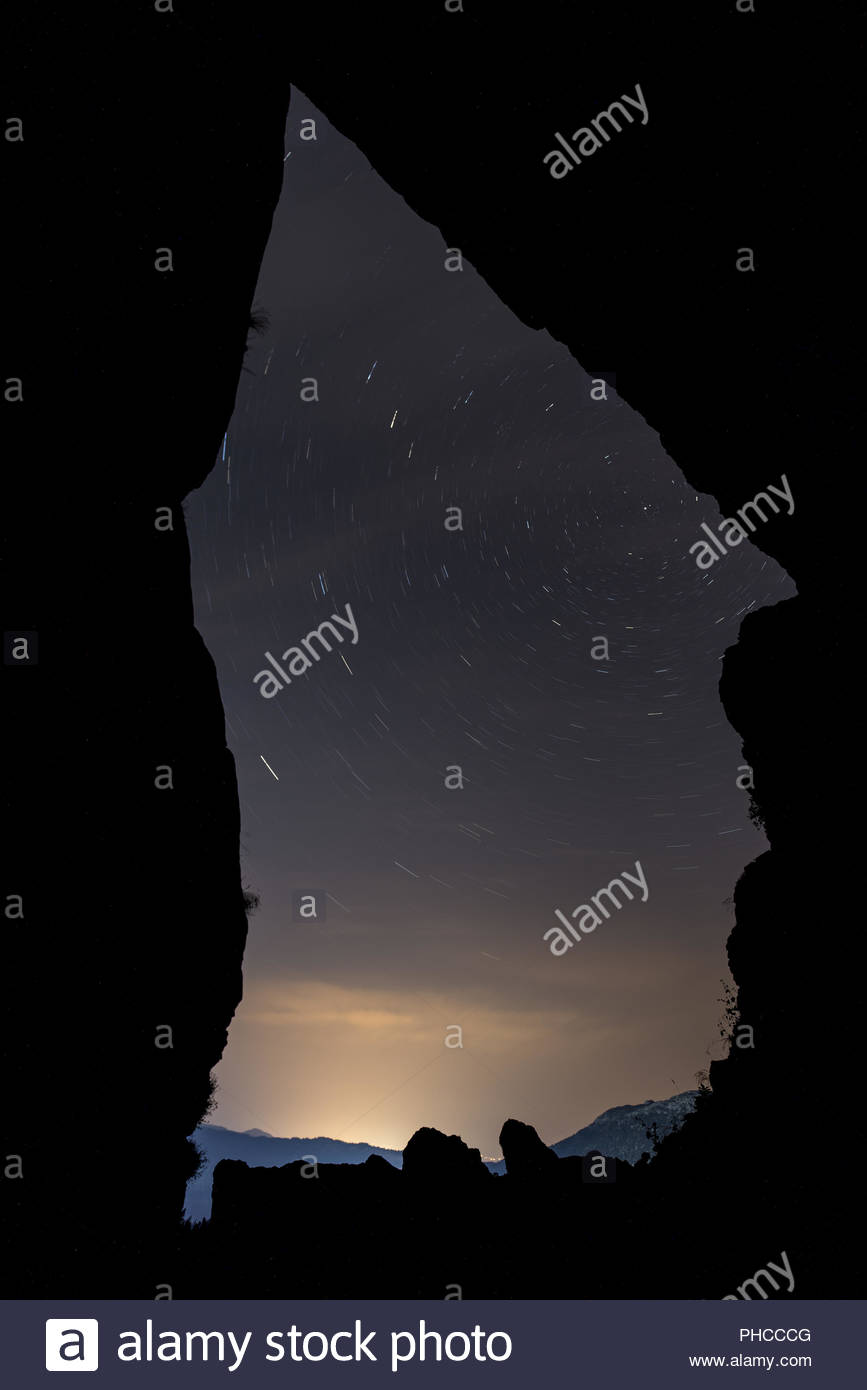stars of the sky view from the cave - Stock Image