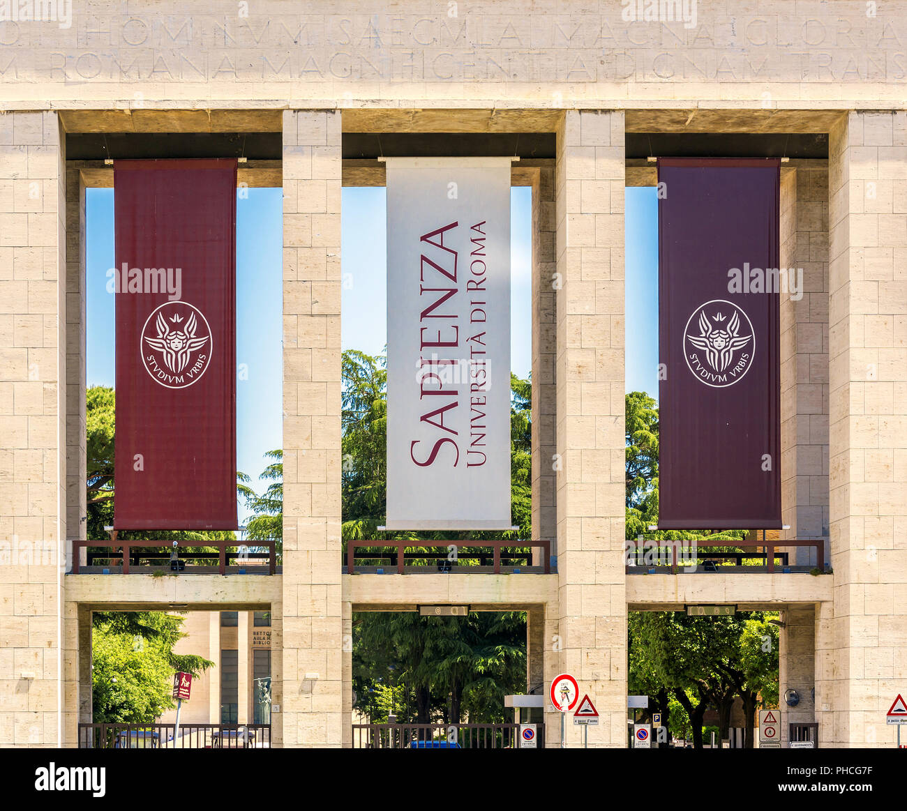 main entrance of the Sapienza University of Rome - Stock Photo
