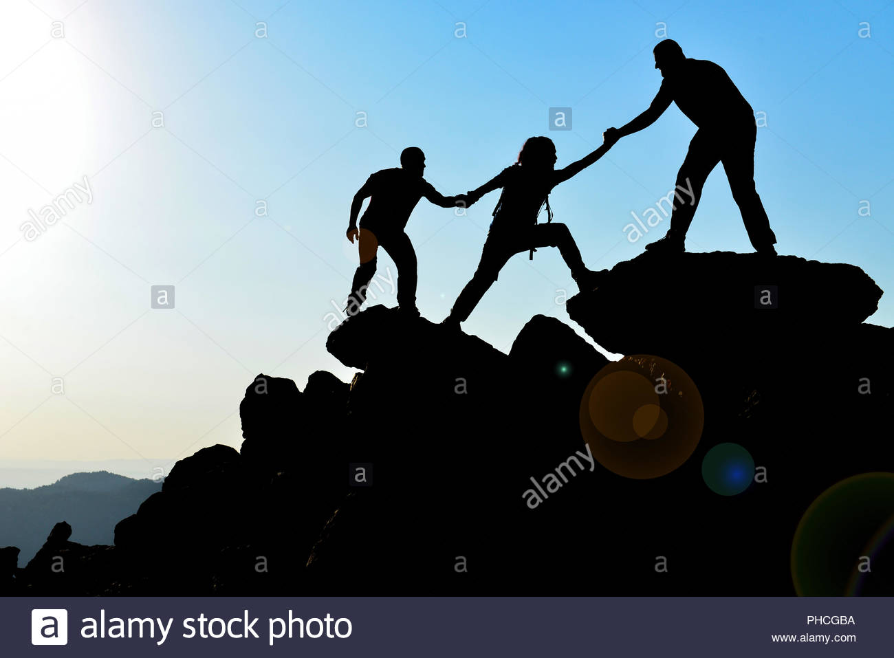 summit-focused mountaineers - Stock Image
