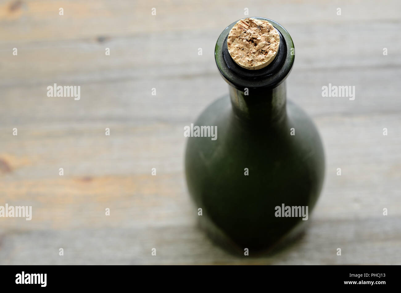 a green bottleneck, top view - Stock Image