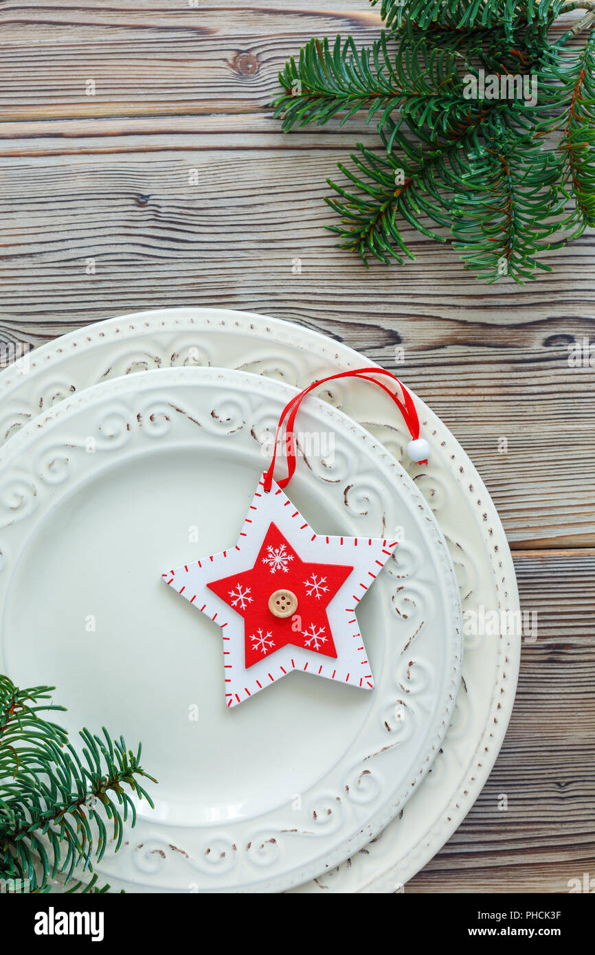 Porcelain Plates With Christmas Decor Stock Photo Alamy