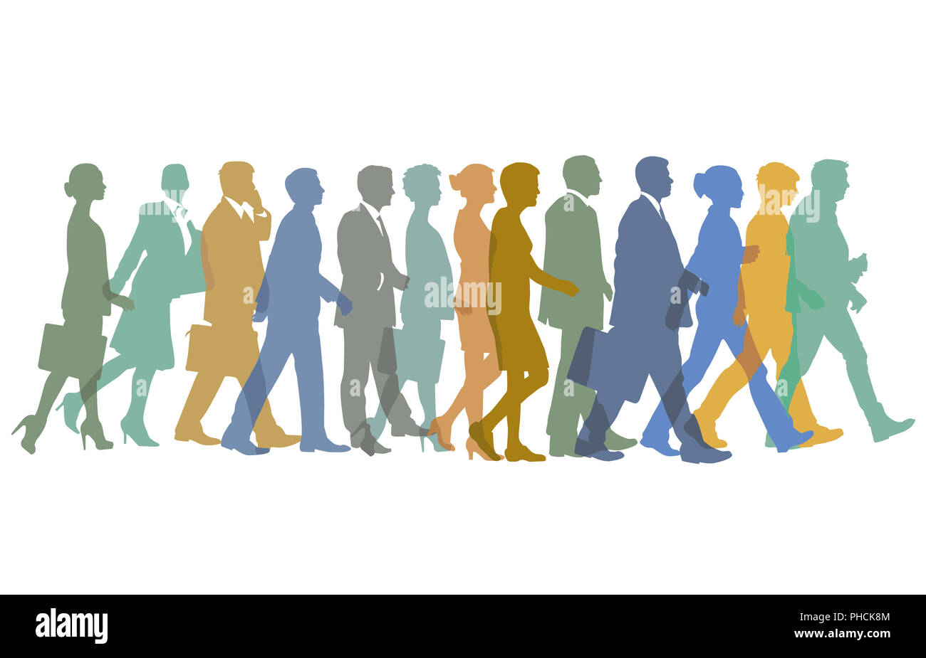 Group of persons go one after the other - Stock Image