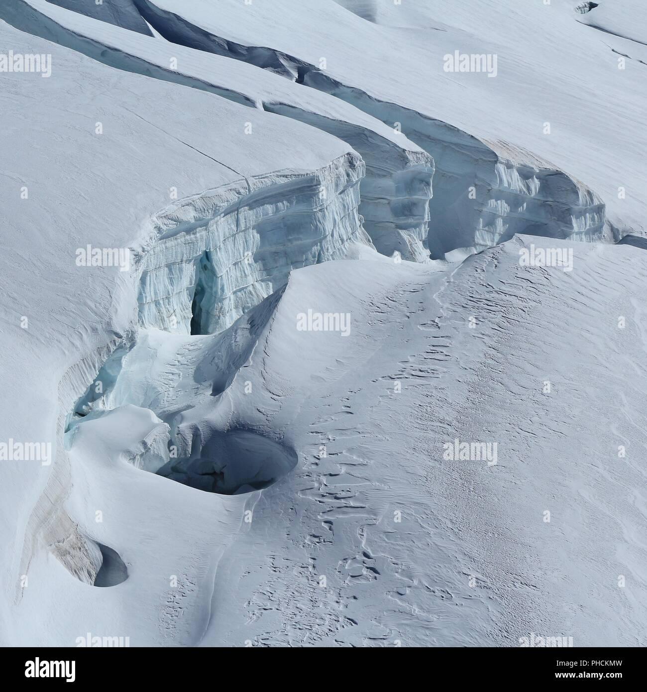 Large crevasse, detail of the Aletsch glacier, Switzerland. - Stock Image