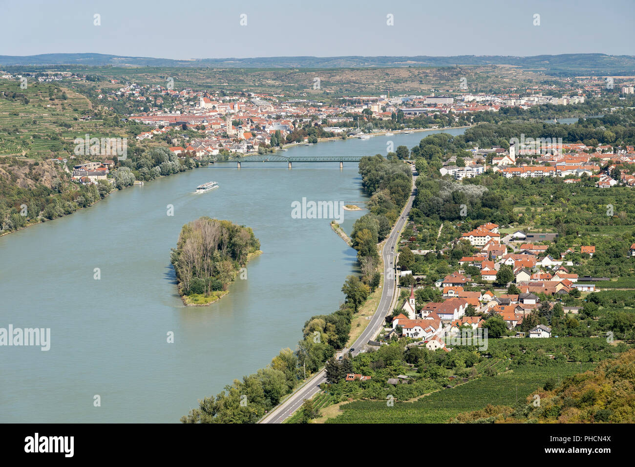 An aerial summer view of Krems, Stein and Mautern and the blue Dabube on a summer's day in the Wachau, Lower Austria, a popular tourist destination - Stock Image