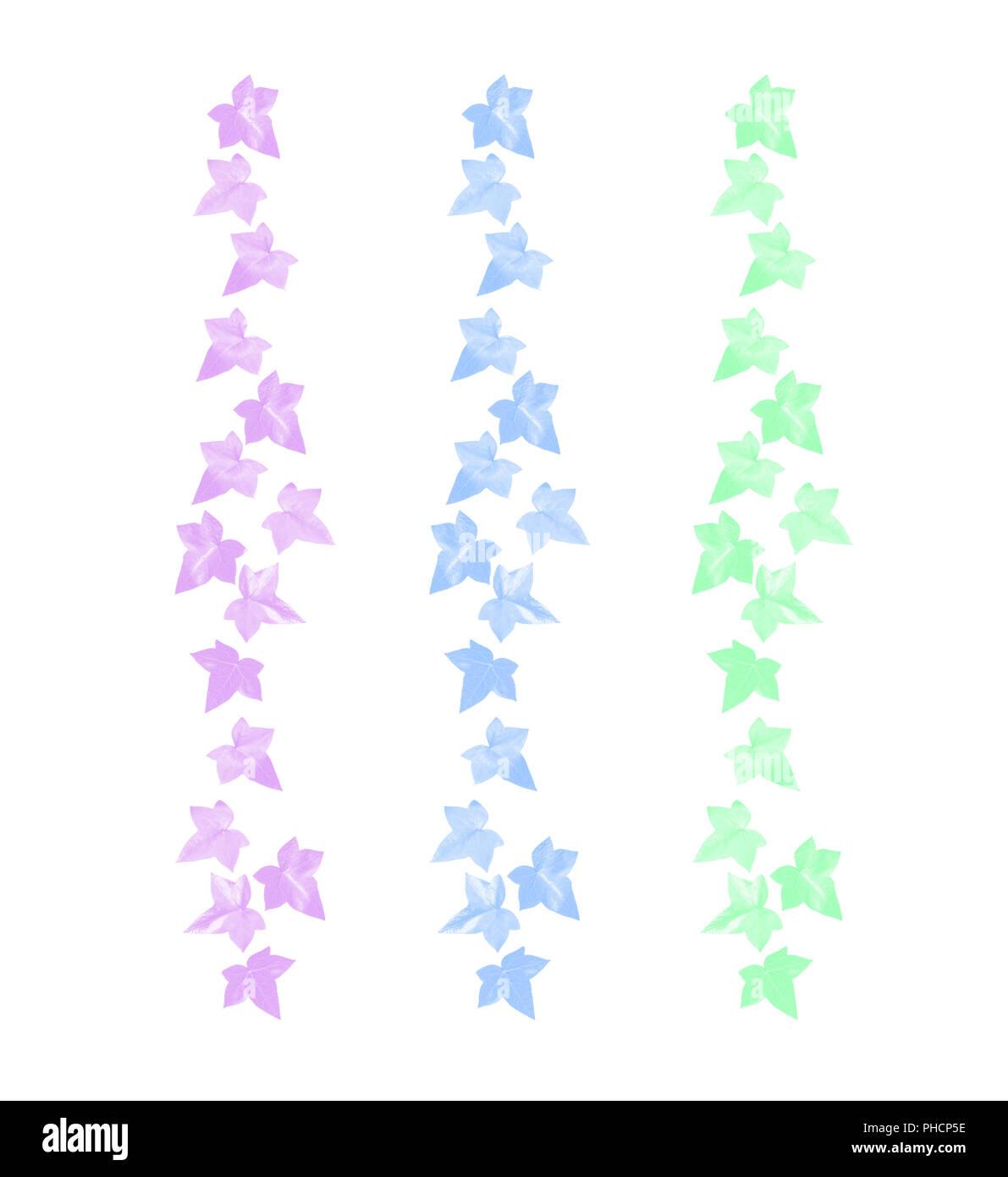 Pastel color vine leaves margin pink blue green - Stock Image