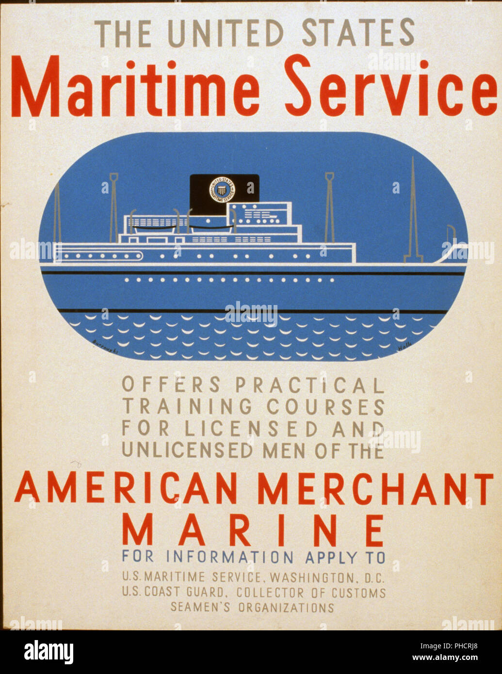 Poster for the United States Maritime Service offering