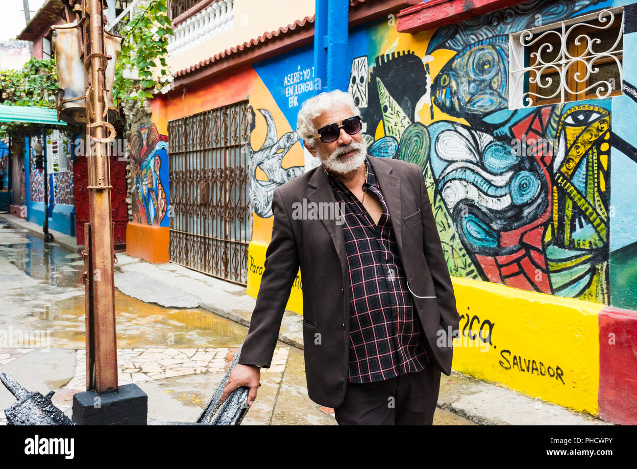 Havana, Cuba / March 20, 2016: Salvador Gonzales Escalona, sculptor and artist behind Hamel Alley and the preservation of Afro-Cuban culture. - Stock Image